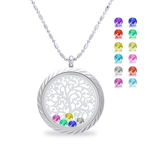 Family Tree of Life Floating Charm Living Memory Lockets Pendant, Magnetic Closure Stainless Steel Birthstone Crystal Necklace DIY Jewelry (Family Tree Of Life Plate)
