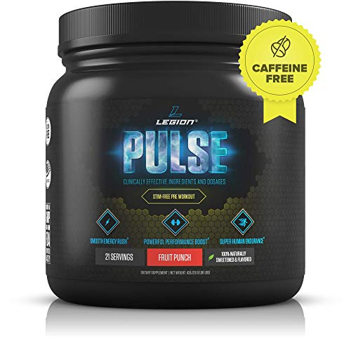 Legion Pulse, Best Caffeine Free Natural Pre Workout Supplement for Women and Men - Powerful Nitric Oxide Booster, Non Stimulant w/Beta Alanine, Citrulline and Alpha GPC, (Caffeine Free Fruit Punch)