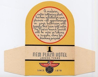 New Plaza Hotel Drinking Water Table Card 1930's Laredo Texas Red - Water Laredo