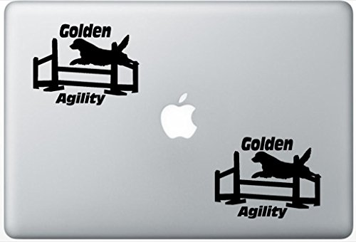 Golden Retriever Agility Jump LeporeDecals2452 Set Of Two (2x) , Decal , Sticker , Laptop , Ipad , Car , Truck