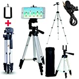 Marklif Adjustable Aluminium Alloy Tripod Stand Holder for Mobile Phones, 360 mm -1050 mm, 1/4 inch Screw with 3.5mm Clip On Mini Lapel Lavalier Microphone (Black)