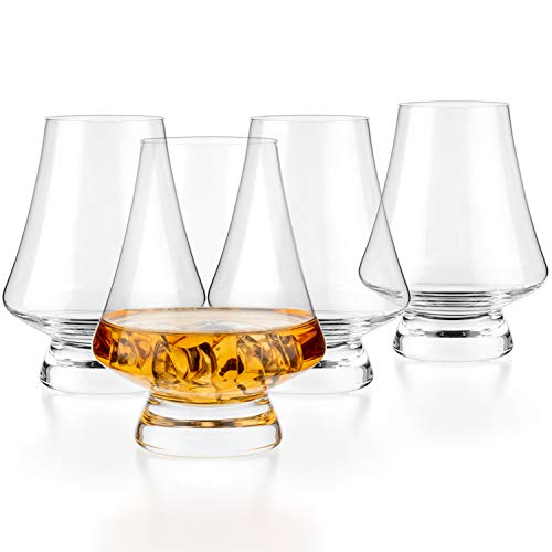 Luxbe – Bourbon Whisky Crystal Tasting Glass Snifter, Set of 4 – Classic Tasting Glasses with Narrow Rim – Handcrafted…