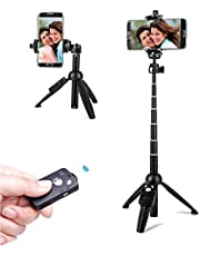 Selfie Stick Tripod,40 Inch Extendable Selfie Stick Tripod with Wireless Remote Control,Compatible with iPhone,Samsung,Huawei Honor and More