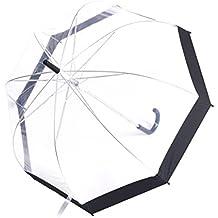 Rainbrace Transparent Bubble Umbrella Auto Open, Fashion Dome Shape with Color Trim