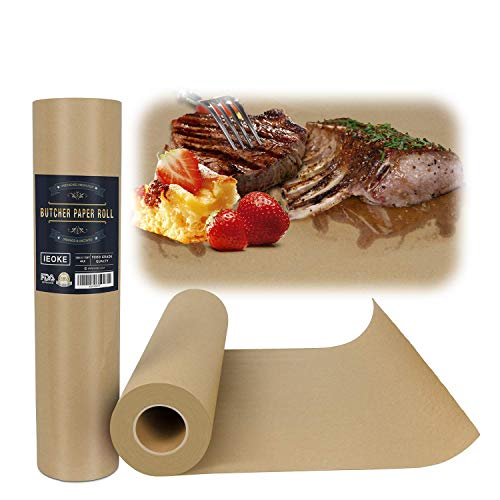 """IEOKE Butcher Kraft Paper Roll - 18 """" x 2100'' (175ft) Wrapping Paper for Beef Brisket FDA Approved Perfect for Smoking BBQ Meats Cooking Paper"""