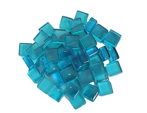 Exotic Fire Glass Caribbean Blue Fire Glass Squares 1/2 Inch - 10lb. Bag - EXCLUSIVE Design - Exclusive Glass