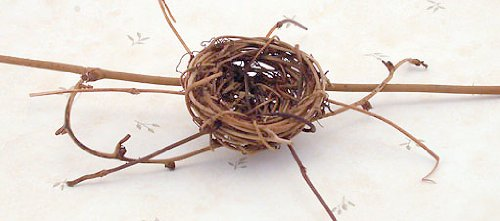 (Miniature Natural Twig Bird Nest Forked Stems Country Primitive Craft)