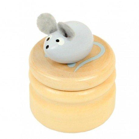 Boite à dents de lait souris grise boîte en bois couvercle à visser enfant 5 ans Ulysse