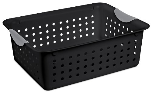 Sterilite 16249006 Medium Ultra Basket, Black Basket w/ Titanium Inserts, 6-Pack