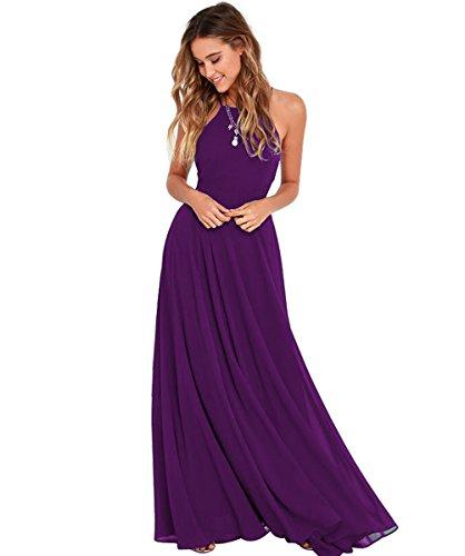 Linie Elegantes Lila Grün Rueckenfrei Abendkleid Kleid Chiffon Damen Halter Brautjungfernkleider A Langes wqtxgpYR