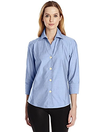 Foxcroft NYC Womens Pinpoint Oxford Shirt Non-Iron Stretch Poplin Blouse (Large, Blue - Ladies Oxford Pinpoint Shirt