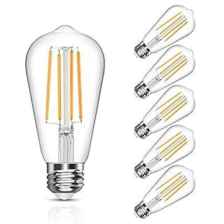 LANGREE Antique Vintage LED Light Bulbs, ST58 Edison Led Bulb, Equivalent 60W, Soft White 2700k, E26 Medium Base, Non-Dimmable, LED Filament Bulbs, Pack of 5