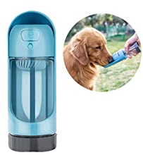 TEQ-ME Outdoor Portable Pet Water Bottle for Walking, Hiking and Travel, Dog Water Dispenser with Filter, Puppy Drinking Water Cup. Four Colors. 10.5 oz / 300 ml. (Blue)