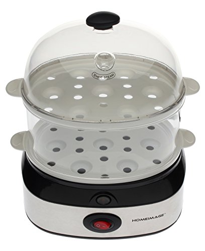 HOMEIMAGE Dual Layer Electric Egg Cooker/Boiler with Stainless Steel Base for up to 14 eggs. HI-702A by HOMEIMAGE