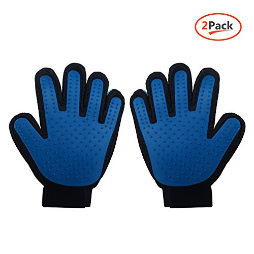Dseap Pet Grooming Massage Gloves Tools, Gentle Deshedding Groomer Brush, Soft Rubber Mitt Hair Fur Remover, Long & Short Fur- Your Pet Will Love It.Pair - Dk Blue.
