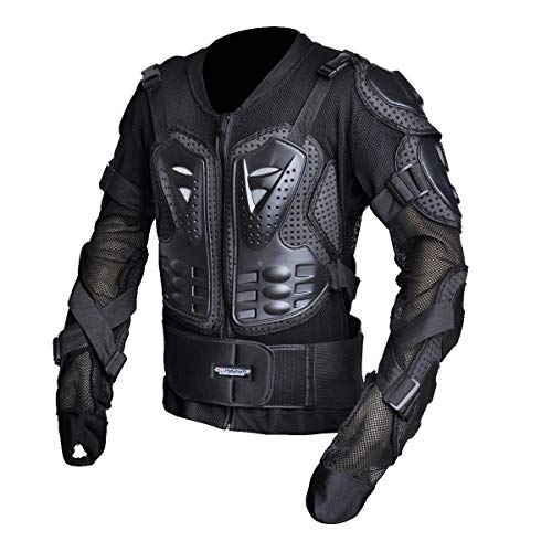 CHCYCLE Motorcycle Full Body Armor Motocross ATV Motorbike Jacket Protector (4XL, Black) ()