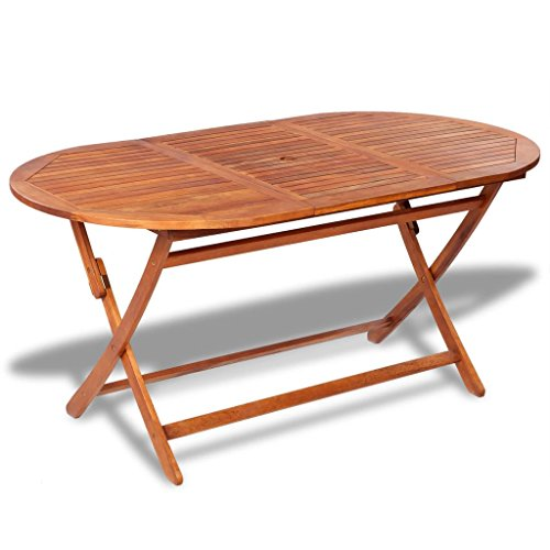Tidyard Outdoor Wood Patio Dining Table with an Umbrella Hole,Large Folding Table Acacia Wood