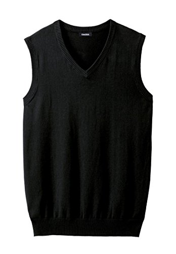 KingSize Men's Big & Tall Lightweight V-Neck Sweater Vest, Black Big-3Xl (Big And Tall Mens Clothing V Neck)