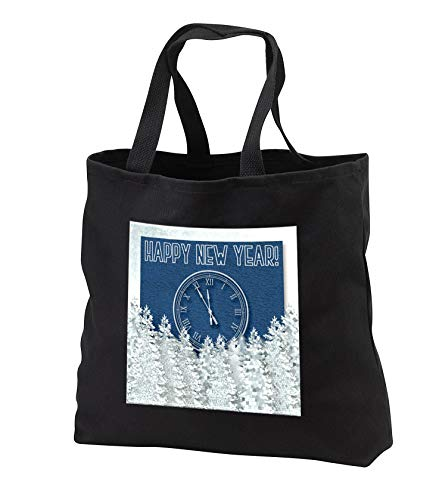 Beverly Turner New Year Design - Happy New Year, Big Clock, Winter Pine Trees, Blue Textured Design - Tote Bags - Black Tote Bag JUMBO 20w x 15h x 5d (tb_302944_3)