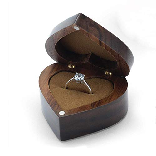 DSHOM Black Walnut Wooden Engagement Ring Box, Solid Wood Heart Shaped Ring Box for Proposal Wedding (Heart Shaped Engagement Rings)