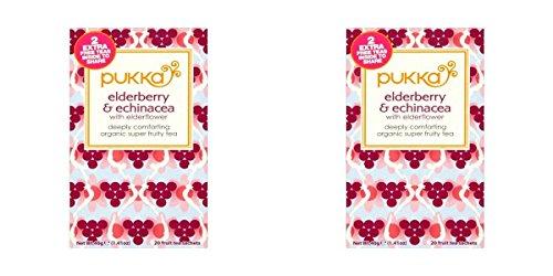 (2 PACK) - Pukka Elderberry & Echinacea Tea| 20 Bags |2 PACK - SUPER SAVER - SAVE ()