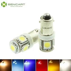 GDW w6w t4w BA9S LED azul / rojo / blanco cálido / verde / amarillo / blanco 5x5050smd 1.5w 90lm para bombilla del coche (DC12-16V) , Yellow