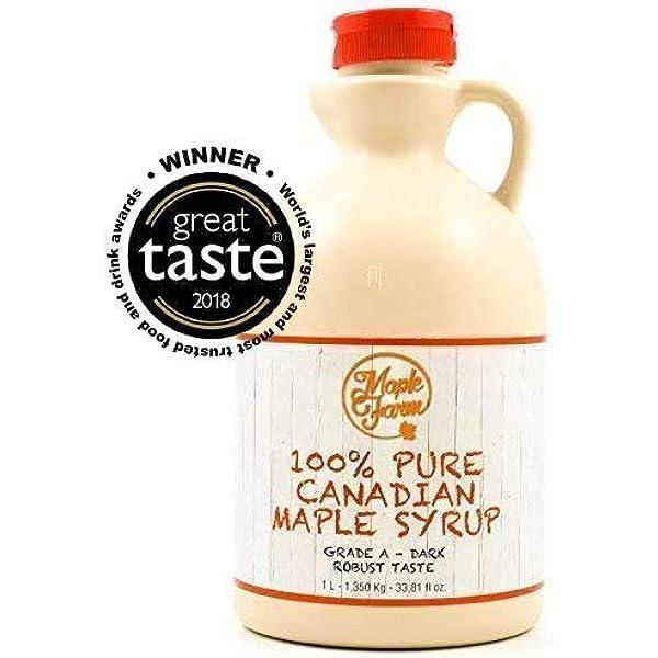⭐Jarabe de arce Grado A (Dark, Robust taste) - 1 litro (1,35 Kg ...