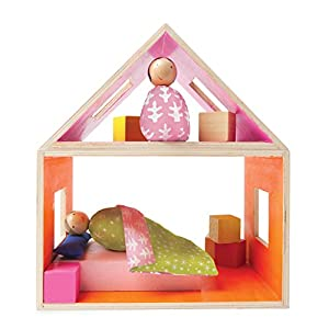 Manhattan Toy MIO Sleeping Place + 2 Bean Bag People Peg Dolls Imaginative Montessori Style STEM Learning Modular Wooden Building Playset for Boys and Girls 3 Years + Up