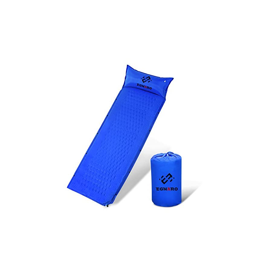 """Self Inflating Sleeing Pad by Egnaro,Compact Waterproof Air Sleeping Mat ,Great for Camping,Traveling,Backpacking,Hiking,74.8""""L x 25.6""""W x 0.98""""H"""
