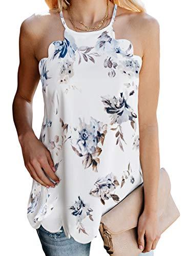 Dearlove Women's Summer Floral Print High Neck Tank Tops Scalloped Sleeveless Camis Causal Racerback Shirts Blouse White 2XL