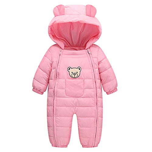 (Infant Baby Toddler Boys Girls Winter Snowsuit Outerwear Clothes Thick Cotton Hooded Warm Snow Wear 6-24 Months (6-12 Months, Pink) )