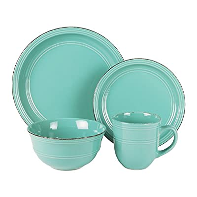 American Atelier 16 Piece Madelyn Blue Dinnerware Set, Aqua - Material: Stoneware Dinner plate: 11 inches, Salad plate: 8 inches Bowl: 6.25 inches, Bowls capacity: 30 ounces, Mug capacity: 15 ounces - kitchen-tabletop, kitchen-dining-room, dinnerware-sets - 418vKIRfl L. SS400  -