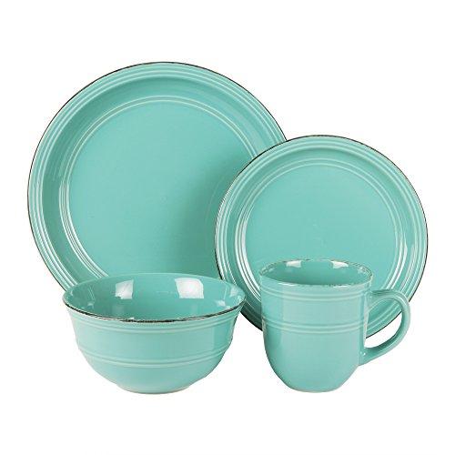 Blue 16 Piece Set (American Atelier 16 Piece Madelyn Blue Dinnerware Set, Aqua)