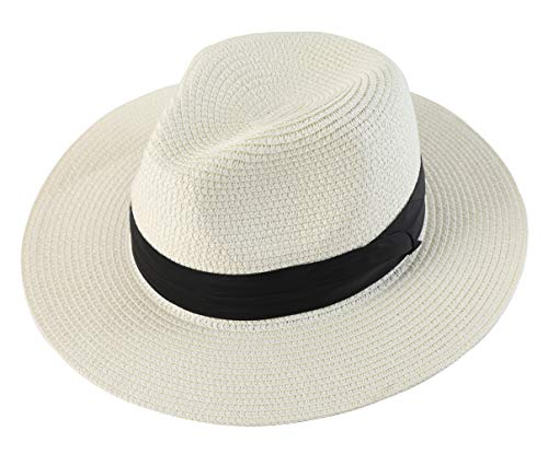 Lanzom Men Wide Brim Straw Foldable Roll up Hat Fedora Summer Beach Sun Hat UPF50+ (Style B-Ivory White, Large Size:Fit for 23