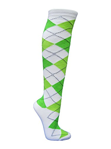 - Argyle Fashion Women/Ladies Colorful Knee High Socks - White/Lime Green/Bright Green