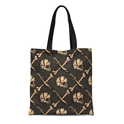 Semtomn Cotton Canvas Tote Bag Colorful Pirate Skull Jolly Roger Abstract Black Bone Color Reusable Shoulder Grocery Shopping Bags Handbag Printed -