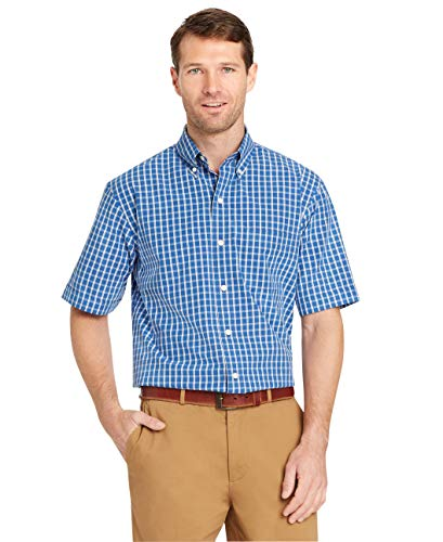(Arrow 1851 Men's Hamilton Poplins Short Sleeve Button Down Plaid Shirt, Blue Azalia, XX-Large)