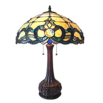"Chloe Lighting CH18043IV18-TL2 Doutzen Tiffany-Style Table Lamp with 18"" Shade"