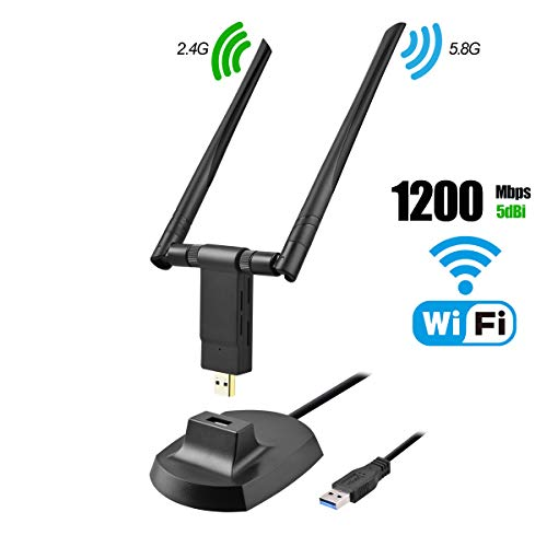 USB WiFi Adapter, 1200Mbps Dual Band 2.4GHz/300Mbps 5.8GHz/867Mbps High Gain 5dBi Antennas USB 3.0 Wireless Network Adapter for PC Desktop Laptop with Windows 10/8/7/XP/Vista, Mac OS, Linux