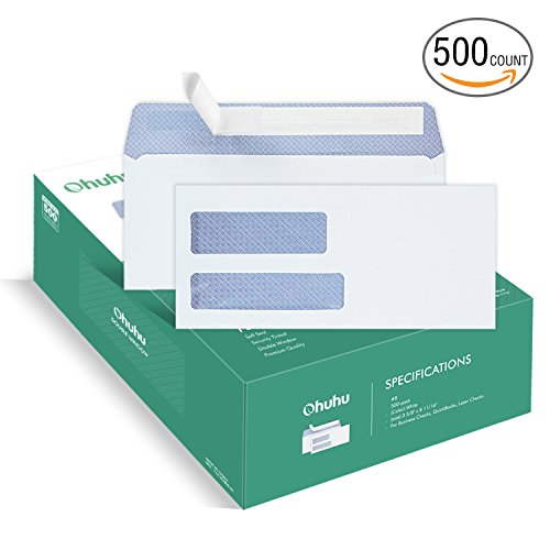 Ohuhu 500 Pack #8 Double Window Envelope SELF SEAL Adhesive Tinted Security Envelopes Quickbooks Check, Business Check, Documents Secure Mailing, 3 5/8