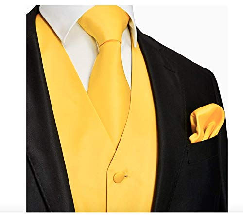 Brand Q 3pc Men's Dress Vest NeckTie Pocket Square Set for Suit or Tuxedo (S (Chest 41), Gold)