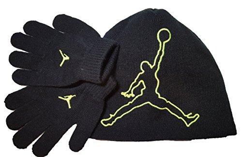 Nike Jordan Jumpman 23 Black Green Beanie Hat Glove Gift Set 8A1554 Sz Ages 8/20 ()
