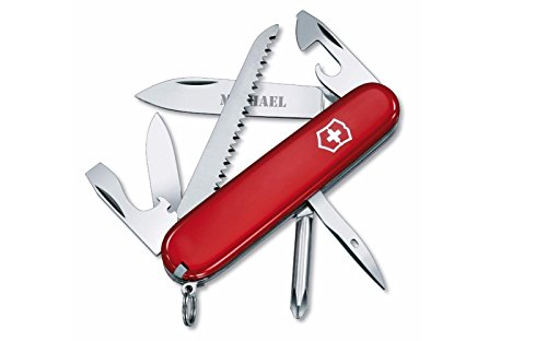Personalized Swiss Army Hiker 91mm Pocket Knife - Red with Free Engraving