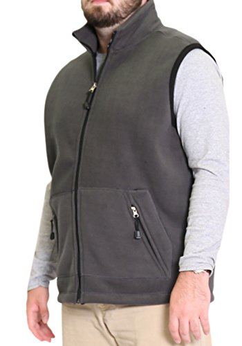 Woodland Supply Co. Men's Fleece Outerwear Vest (Large, Charcoal/Black)