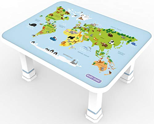 Baby Care Kids Folding Floor Table w/Adjustable Heights - for Play, Reading, and Snack Time and More (World Map) ()