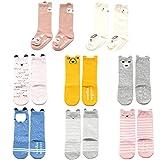 NUZIKU Baby Toddler Girls Boys Knee High Socks, Kid Anti Slip Cartoon Animal 8 Pairs Cotton Stockings (0-2 Years)