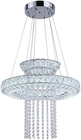 Maxax Modern LED Crystal Chandelier Lighting 2 Ring Fixtures Hanging for for Dining Room, Living Room