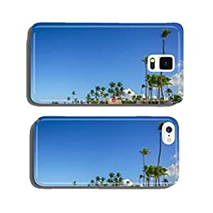 Tall exotic palm tree on one of the Caribbean beach cell phone cover case Samsung S5
