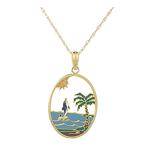 14k Yellow Gold Nautical Charm, Dolphin Jumping Oval, Stained Glass with Enamel, with 18 Inch (14k Nautical Charm)
