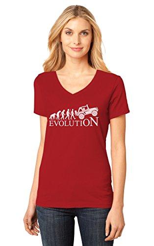 TeeStars - Evolution 4x4 - Gift Off Road Lovers - Cool V-Neck Women T-Shirt Large Red
